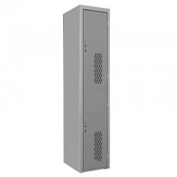 Locker Troquelado 2 puertas Gris